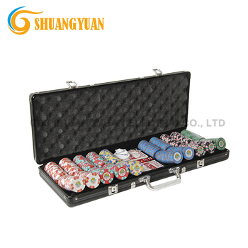 500 Personalizzato Poker Chip Set Con Case In Alluminio Nero, Bottoni Dealer, 2 Mazzi di Carte e 5 Dices