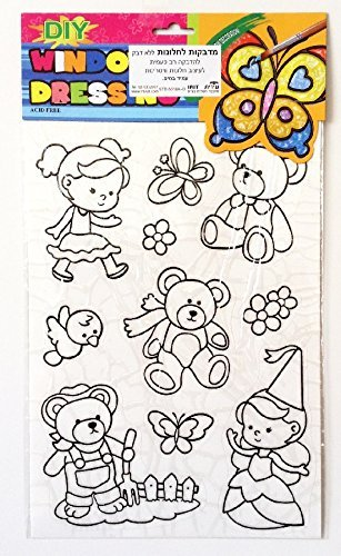 Princess, butterfly & Teddy Bears DIY Coloring Stained Stickers For Kids Art and Crafts For Kids Window Clings Family Activities Fun Crafts For Kids Art Projects Removable Windows Stained Glass Decals