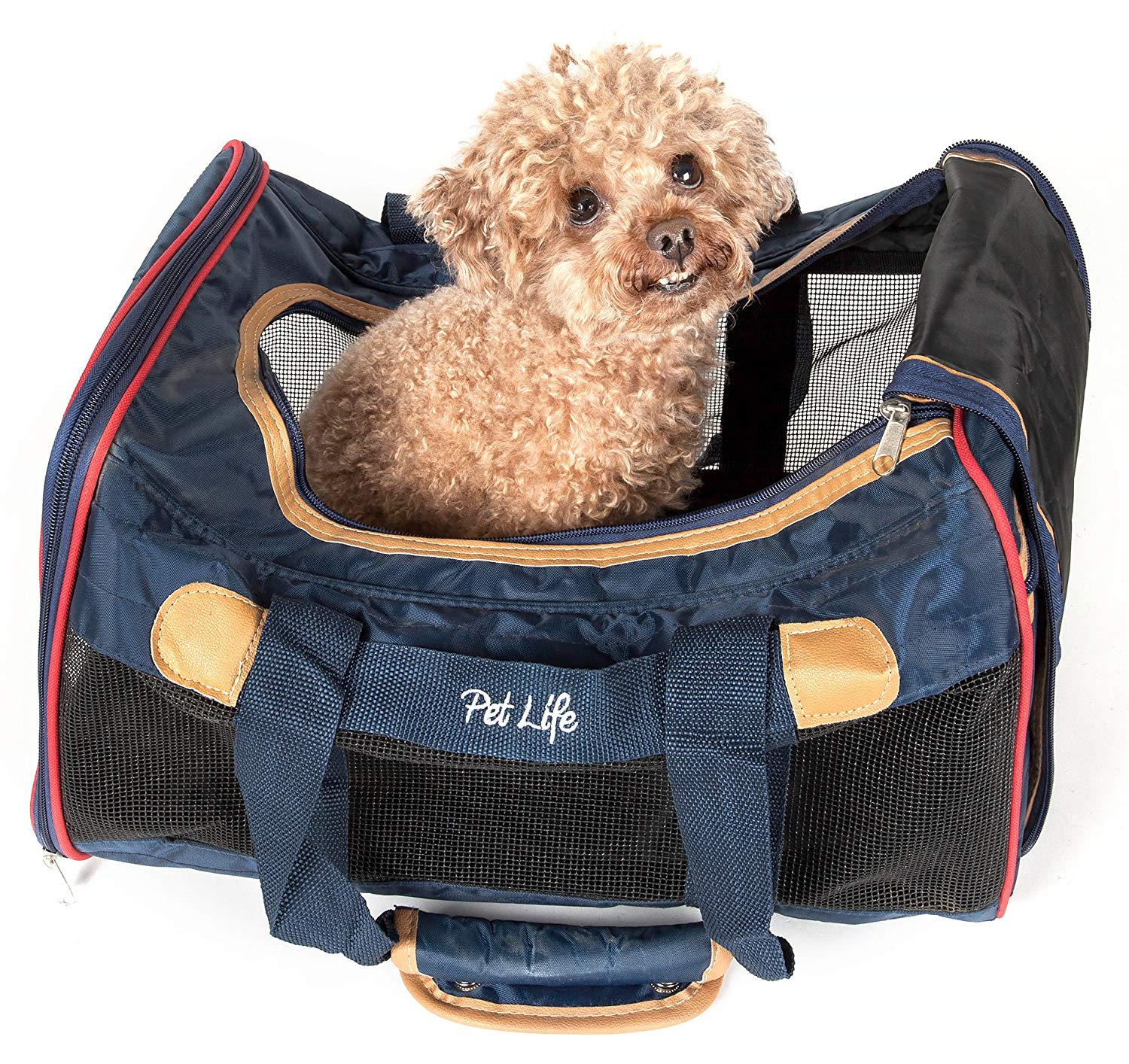 Pet Life Aero-Zoom' Airline Approved lightweight Wire Framed Folding Collapsible Fashion Pet Dog Carrier, Dark Blue