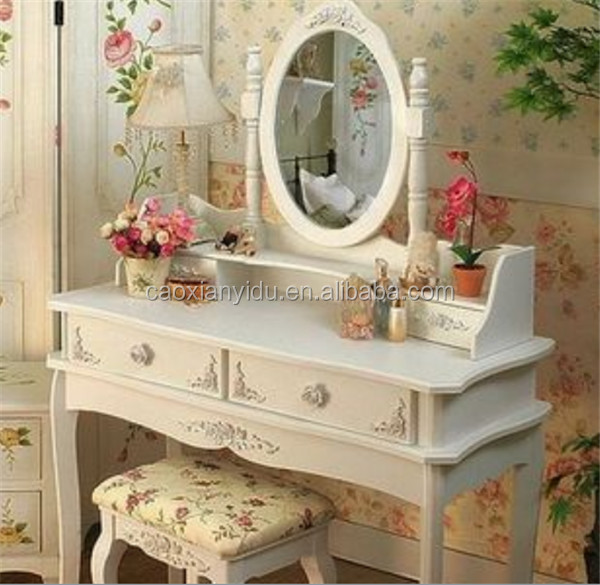 Hand Painted Apartment Bedroom Dressers Modern White Color Dresser With  Stool Princess Makeup Table K/d Dresser Package 90*38*1 - Buy Hand Painted  ...