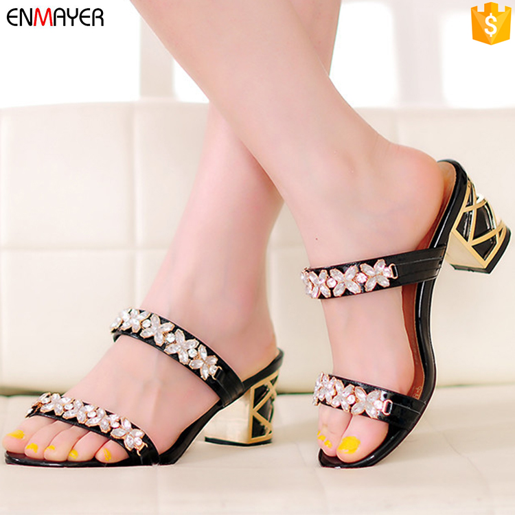 emboss new leather heel design comfortable rhinestone ladies high slippers sexy ptwyqR5Ex5