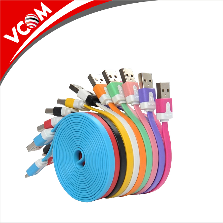 2017 Colorful Charging Cable Noodle Flat Data awm 2725 USB Cable Made in China