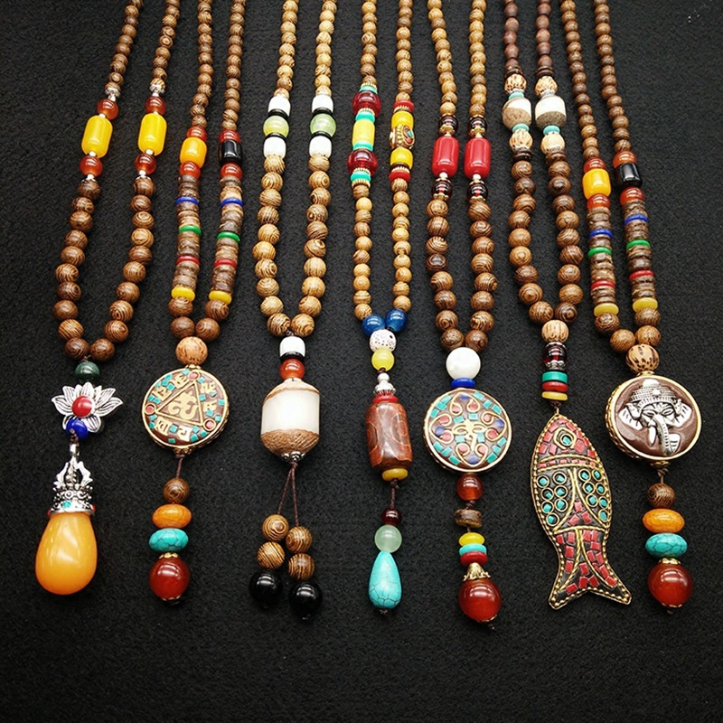Wood Pearl Necklace Meditation yoga Beaded Necklace Resin Wood Beads Necklace