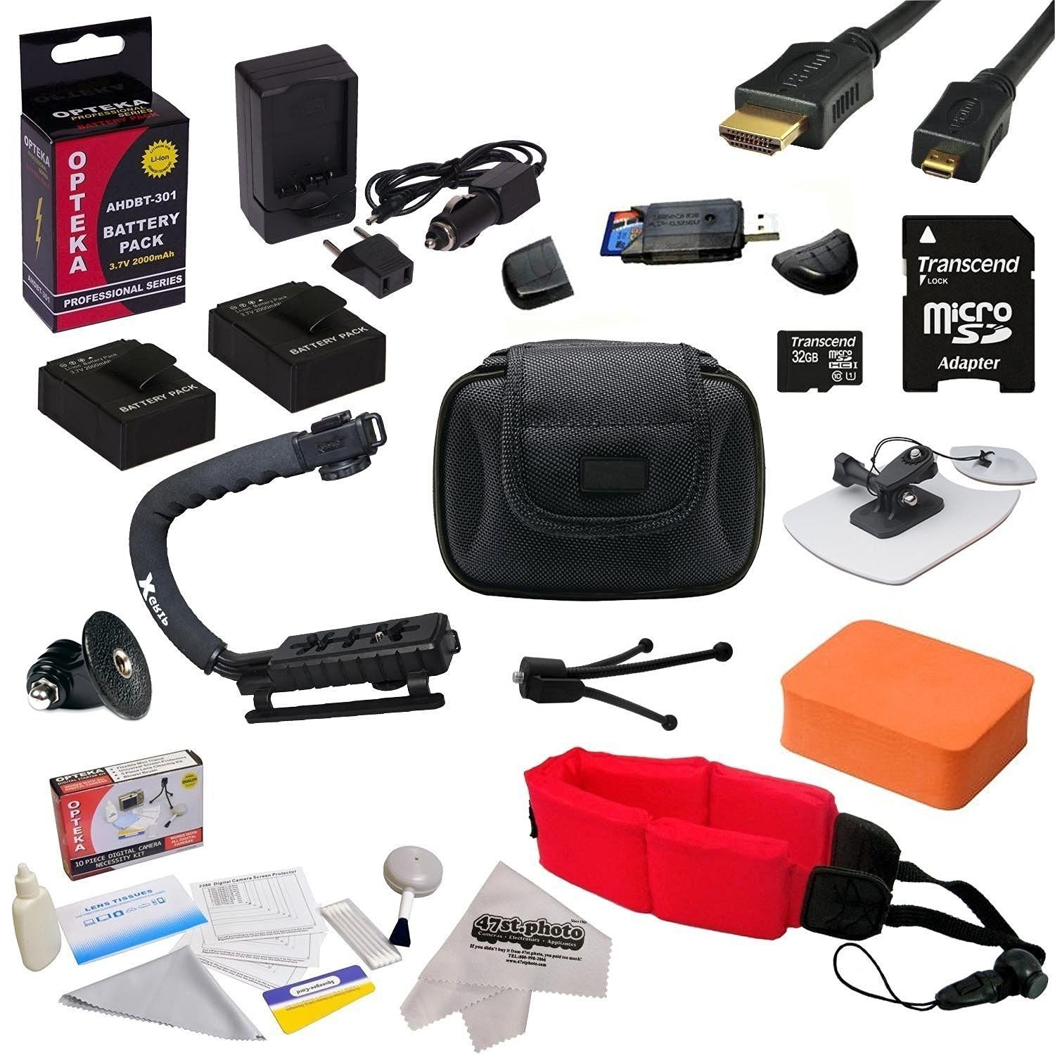 """All Sport """"Surf Edition"""" Accessory Kit For the GoPro HERO3+ Black Edition, HERO3+ Silver Edition, HERO3 Silver Edition, Black Edition, White Edition Cameras - Kit Includes 32GB Micro Sd Memory Card + (2) Extended Life 2000MAH AHDBT-301 Batteries + AC/DC Battery Charger + HDMI to Micro HDMI Cable +"""