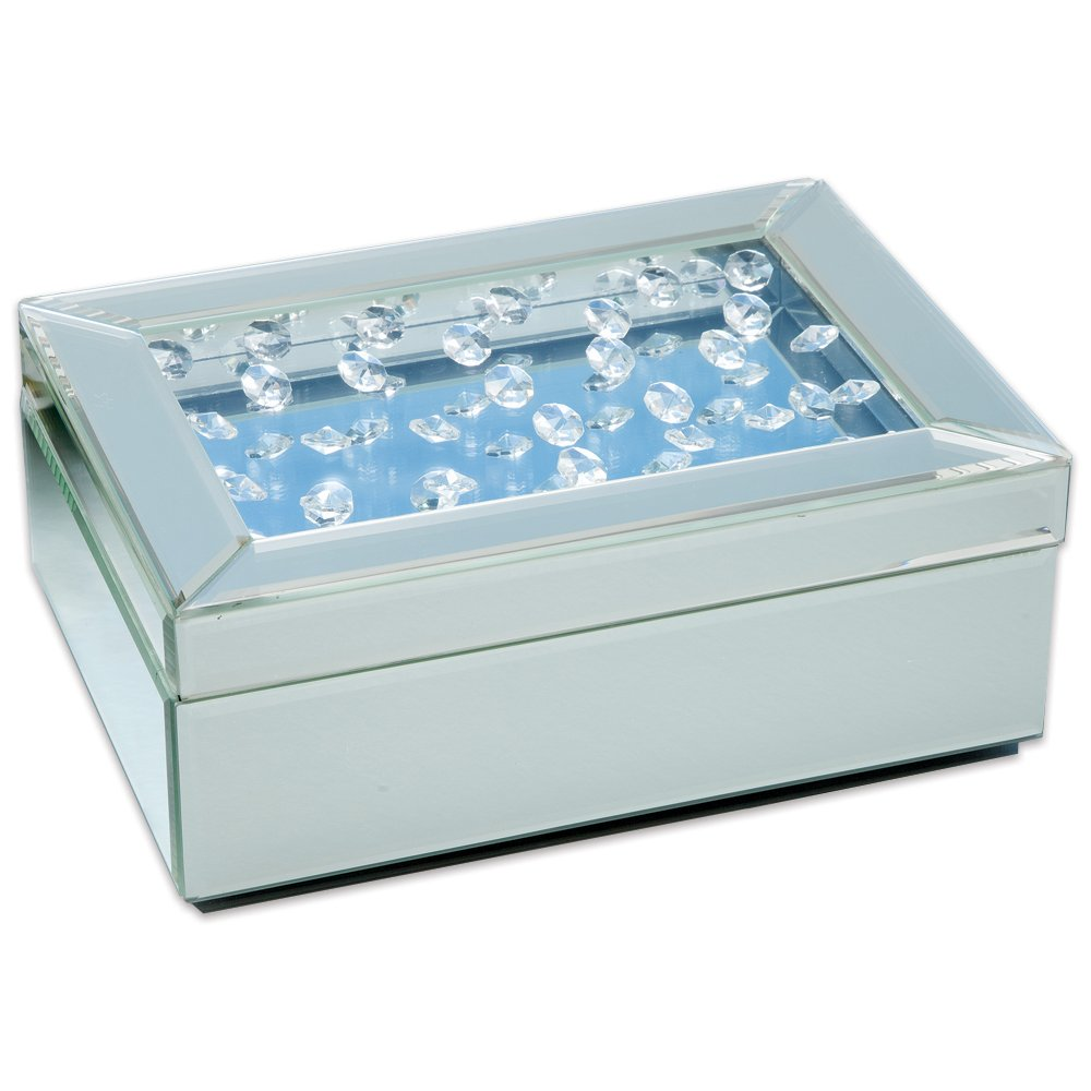 Bits and Pieces - Floating Crystals Jewlery Box - Elegant Mirrored Glass Jewlery Box