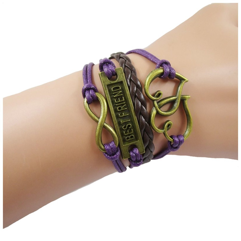 DIY Leather Bracelets Infinity Heart Love Best Friend Charm Friendship Bracelets Women Vintage Purple Leather Rope Wrap Bracelet