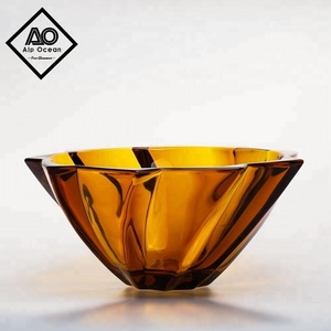 ALP OCEAN amber colored glass bowl, glass serving bowl, decorative glass bowl