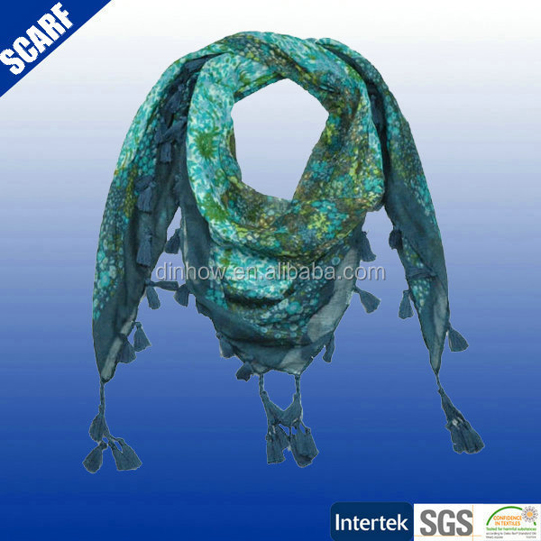 100 cotton printed voile paisley design square scarf