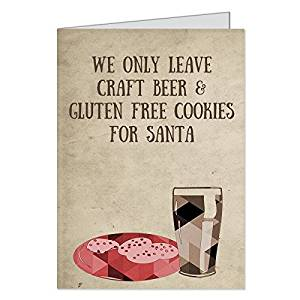 Hipster Christmas Cards Holiday Gluten Free Cookies Beer Santa Ironic
