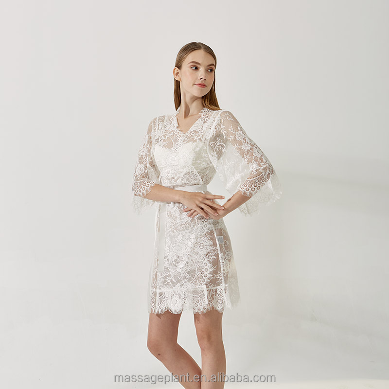 Free sample bridal satin and lace robe, wedding robe, Ivory and/or white lace robe