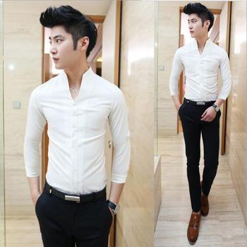 Zm40946a Korean Style Men Clothing Mens Slim Fit Shirts