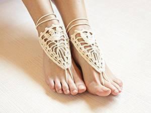 Ivory Beach Wedding Sandals,Wedding Accessory,Sexy Beach Sandals, Crochet Barefoot Sandals, Barefoot Sandals , Crochet Anklet, Sexy Lace Sandals,Wedding Footwear, Bridesmaid Sandals (Ivory-05)