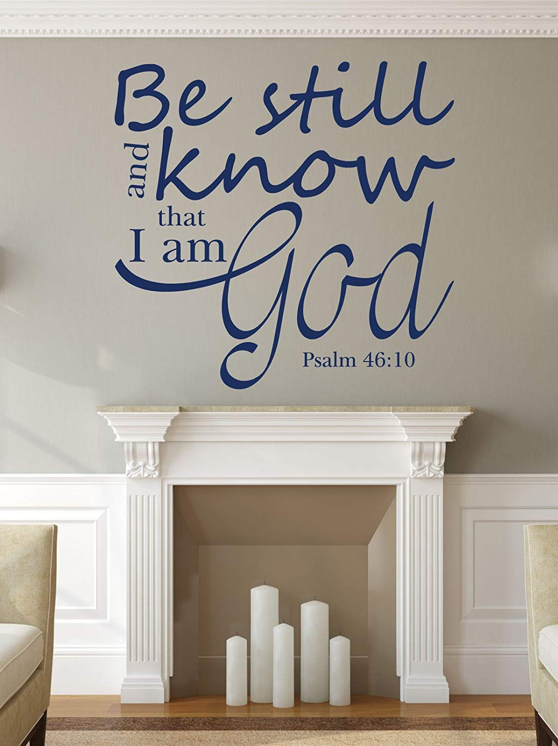 Bible Verse Wall Decal - Psalm 46:10 - Be Still and Know That I Am God - Religious Wall Decals, Scripture Wall Art, Christian Home Decor, Church Wall Decals