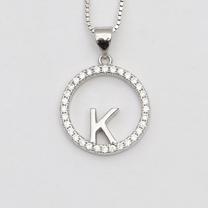 e9a556386 online shop pave cz diamond alphabet english 26 letter pendant K shaped  round sterling silver jewellery