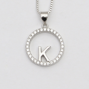 online shop pave cz diamond alphabet english 26 letter pendant K shaped round sterling silver jewellery