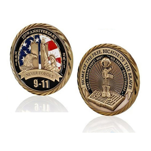 zinc die casting honor of brave 911 never forget antique gold plating 3d design custom challenge coin