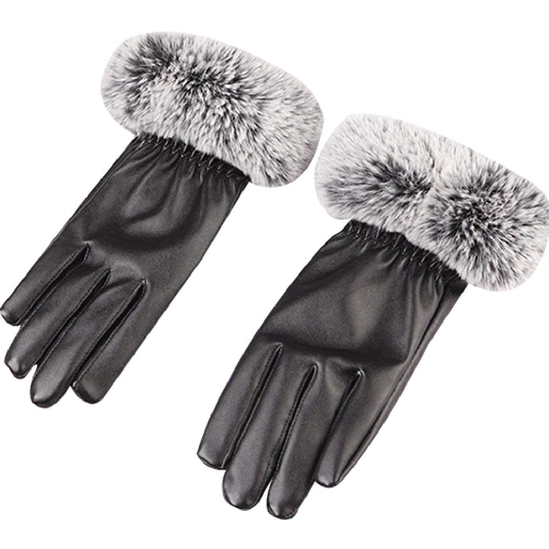 11ab5ec493c Get Quotations · BUYEONLINE Women S Faux Leather Black Gloves Rabbit Fur  Trim Cuff Winter Warm Mittens