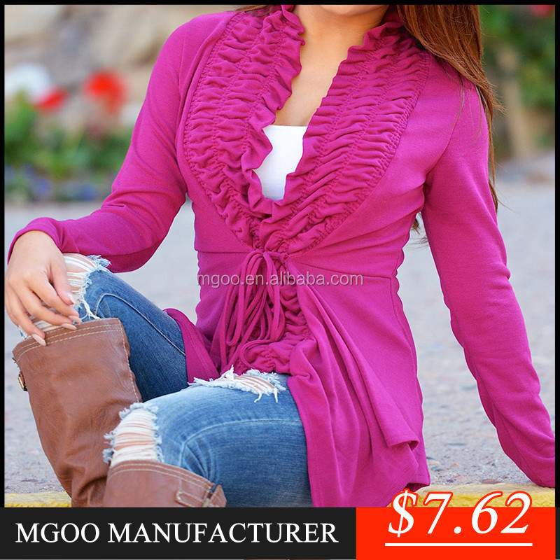MGOO New Season Cheap Price Grey Purple Cotton Ruffles Coat Long Sleeves Jackets For Women Cardigan Knitted NB02725