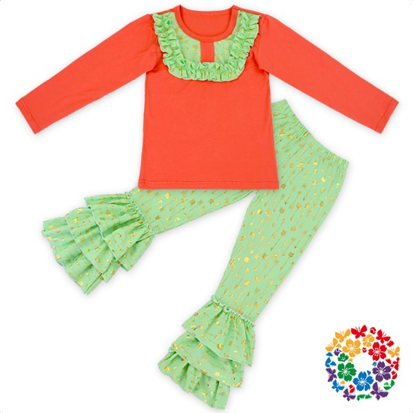 Wholesale Thanksgiving Day Clothing Set Newborn Baby Clothes With Matched Headband Baby Girls Ruffle Clothing Sets