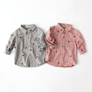 KS20537G High quality striped leaves embroidery shirt for girls