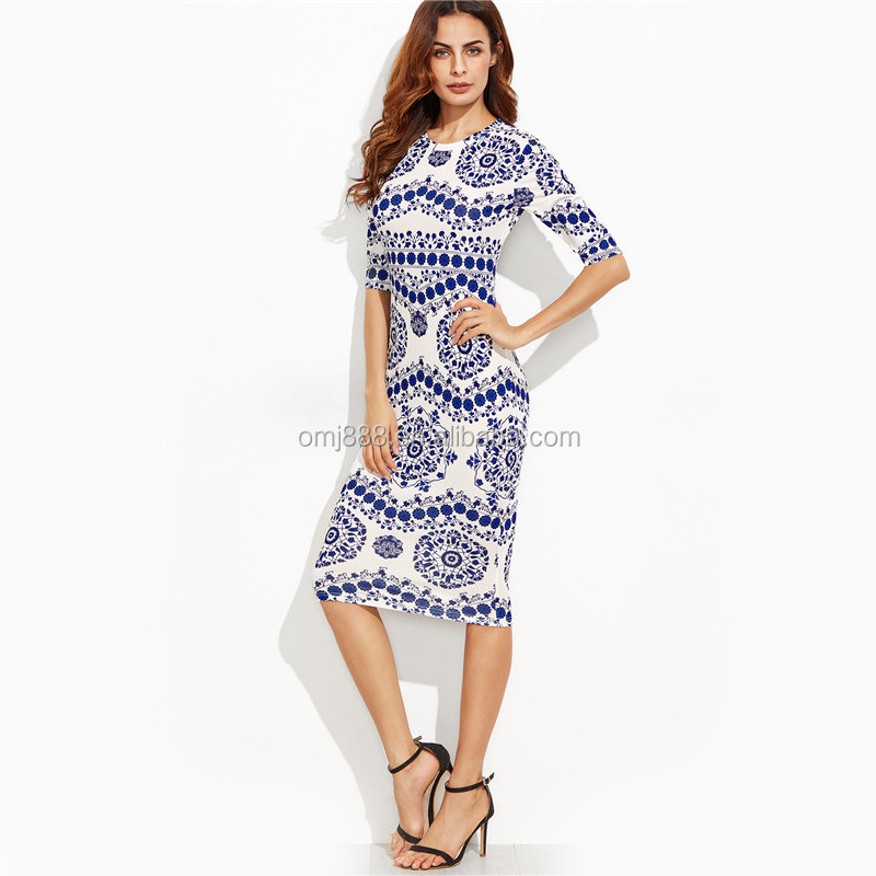 Fashion blue and white porcelain print bodycon pencil <strong>dress</strong> office ladies wear round neck 3/4 sleeve midi <strong>dress</strong>