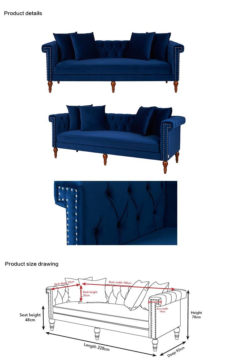 Modern Furniture Ruang Tamu Navy Warna Biru Nail Kepala Sofa  # Muebles Lapolar