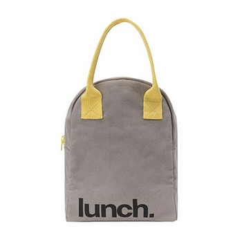 Durable organic cotton zipper insulated lunch bag tote