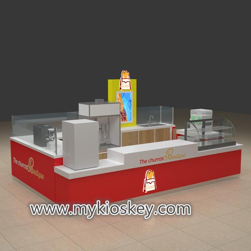 Mall Fast Food Kiosk franchise churros kiosk Design potato chips kiosk