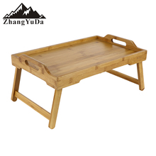 bamboo snacking tea food tray with handle