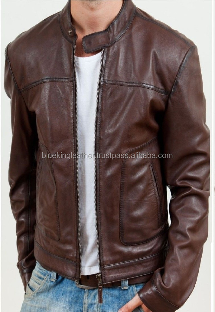 Real Leather Jacket Men Pure Fashion Leather Jacket Brown - Buy ...