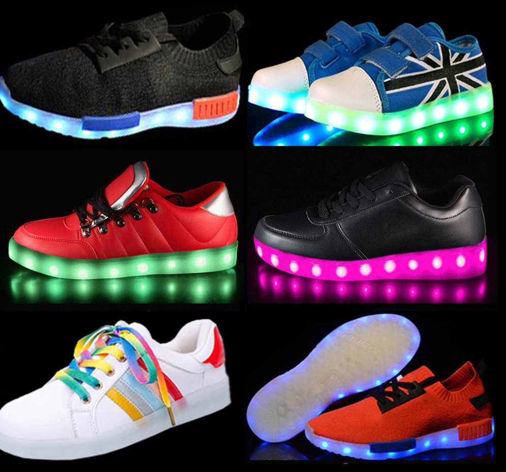 led shenzhen shoes with adult kids of CE sizes for sneakers, shenzhen shoes led