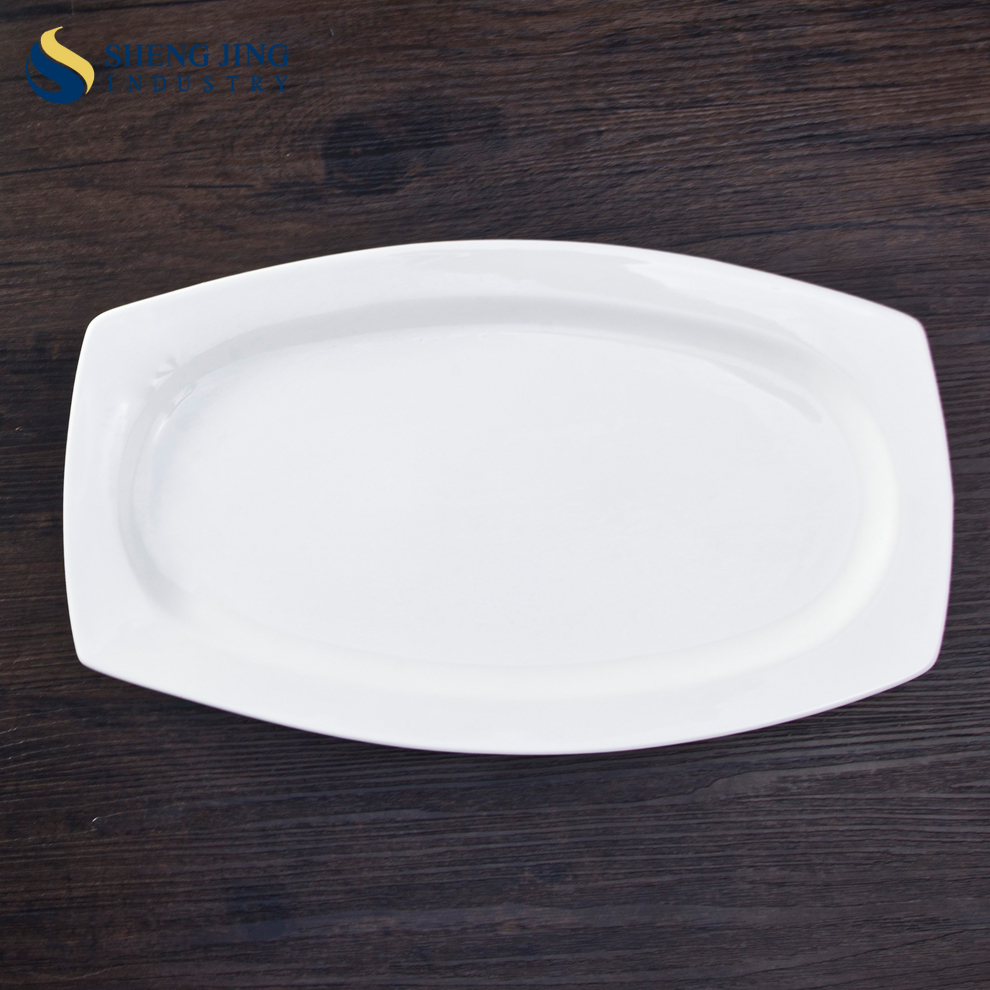 Custom Ceramic Dishes Food Serving Plate Super White Porcelain Banquet Tableware