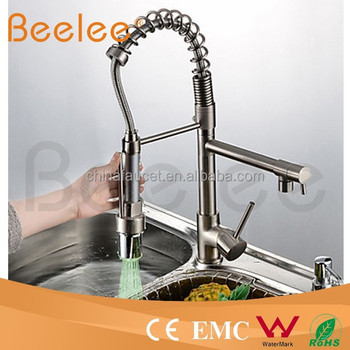 Kitchen Faucet Two Heads Pull Down Spray Brushed Nickle Spring Sink