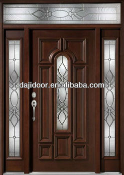 Dark brown exterior solid wooden doors design with side panel transom dj s9602msths 4 buy Puertas de madera exteriores