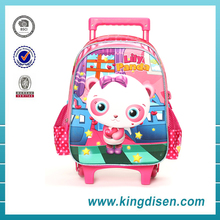 2016 New design 3D polyester cute kids panda backpack with wheels