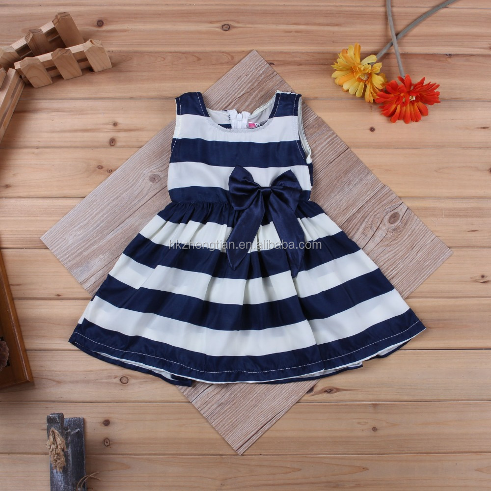 Wholesale Baby Girl Clothes Blue And White Striped Flower Decoration