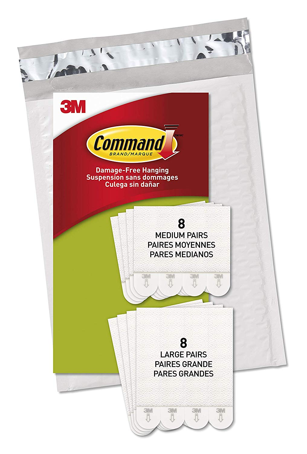 Command, PH209-16NA, Picture Hanging Strips, 8 Medium Pairs and 8 Large Pairs, White, in easy-to-open packaging