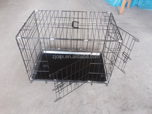 2 Doors Dog Folding Cage Kennel With Plastic Tray