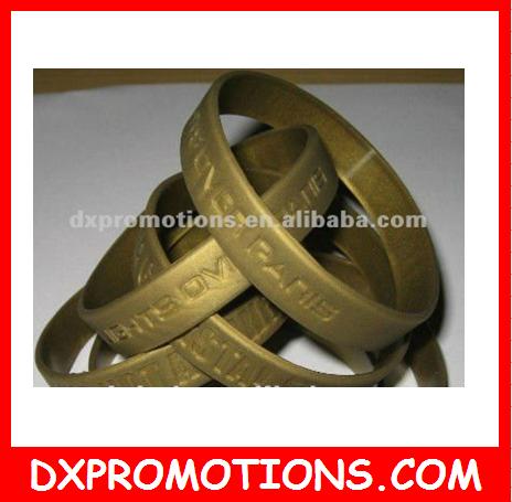 Gold Silicone Bracelet Metallic Wristband