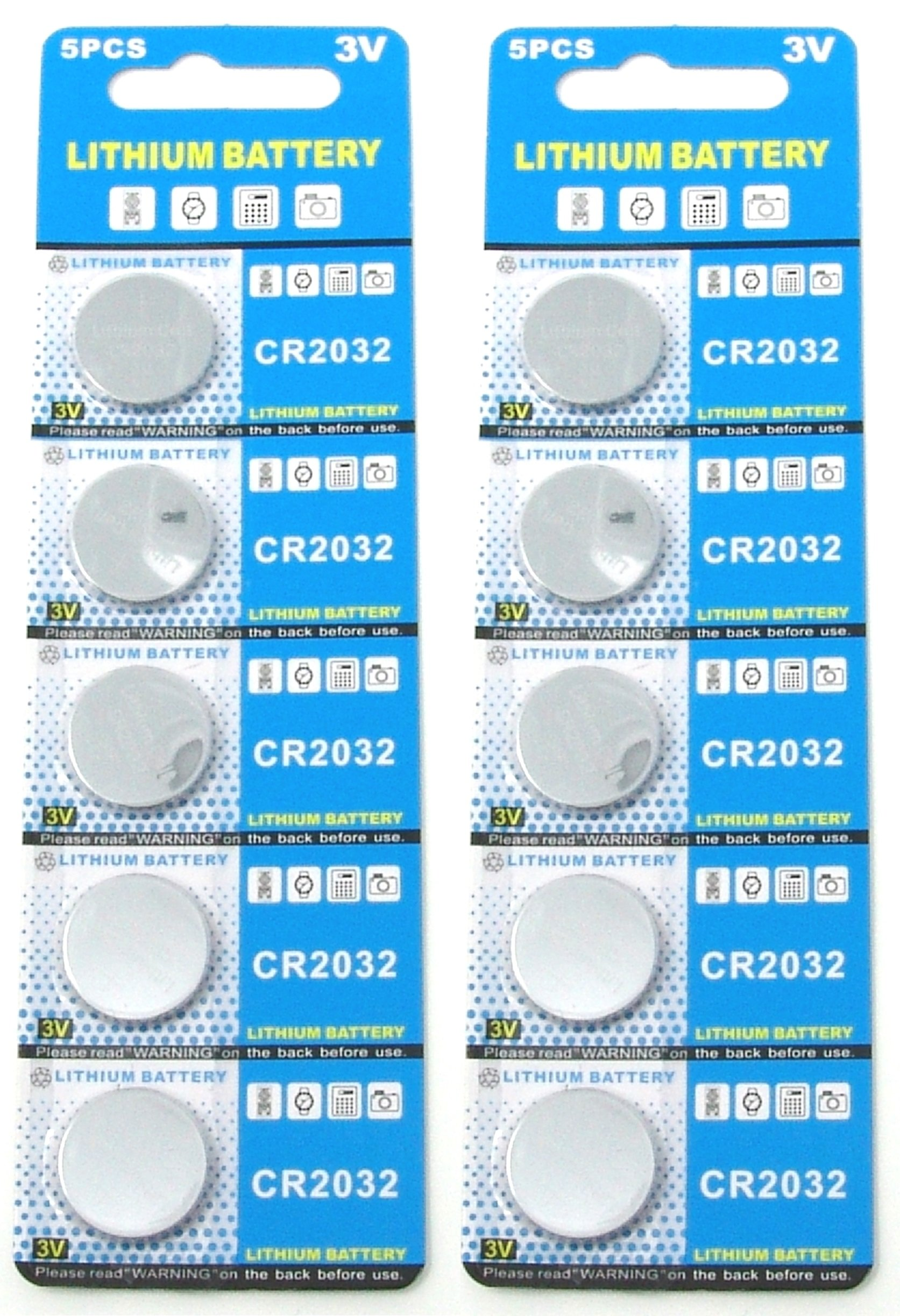 Rayverstar CR2032 3V Lithium Battery 10-Pack (2 x 5-Pack). Fits BR2032, DL2032, SB-T15, EA2032C, ECR2032