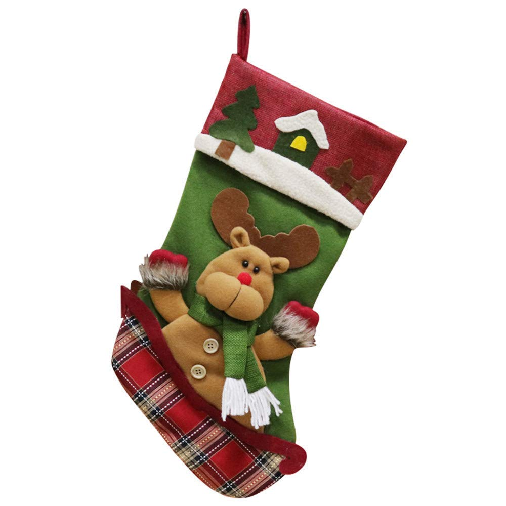 Christmas Stocking Decoration, Sacow 3D Applique Cute Snowman Reindeer Santa Gift Candy Bags Christmas Gifts Tree Ornament Stocking Decor (Elk)