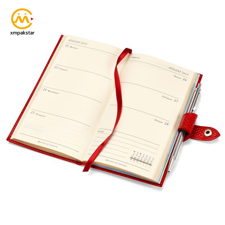 On demand print week-to-view layout leather cover pocket diaries notebook with button closure