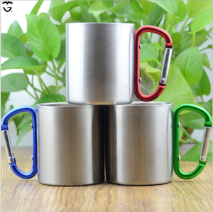 200-300ml 100% BPA Free mountaineering buckle Single wall aluminium metal wine camping cup coffee beer mug