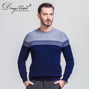 Three Colours Stitching Blended Jumpers Hand Knitted Round Neck Men Sweaters