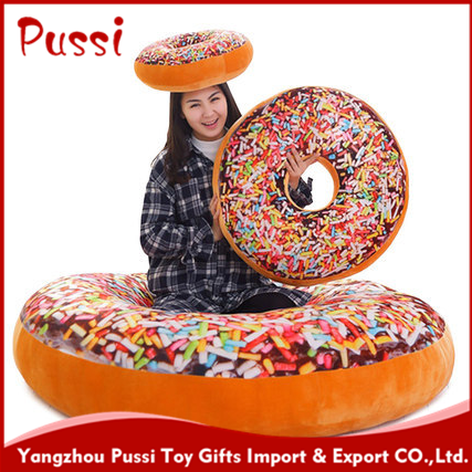 Sweet Donut seat cushion plush Donut food toy from factory design