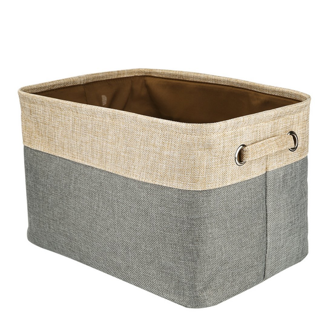 RAVPump Natural Cotton Linen Storage Box Collapsible Storage Basket  Organizer Case With Handles For Home Clothes