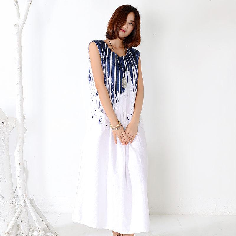 97ccf46540 Get Quotations · 2015 summer style cotton linen new women plus size baggy  Dresses graffiti printing vest maxi dress