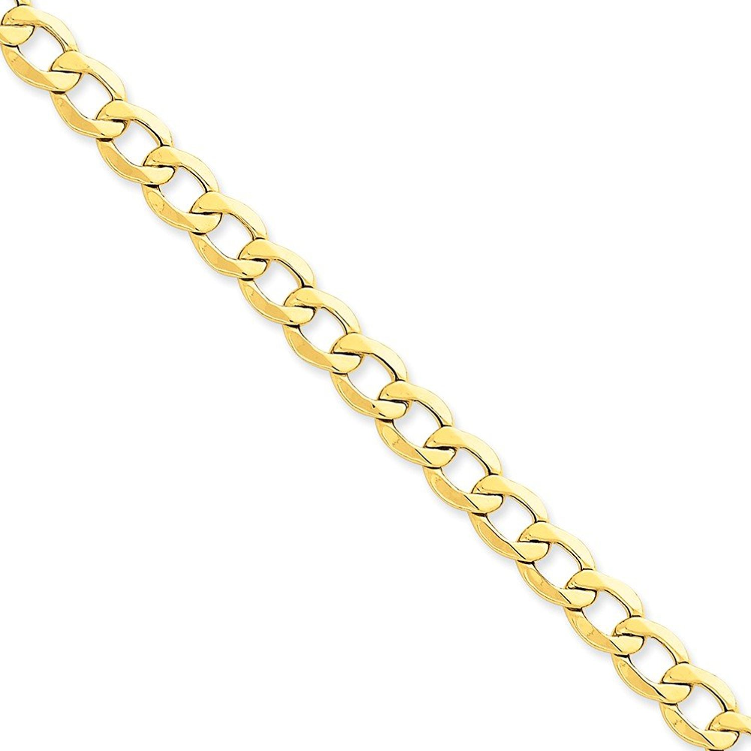 14k Yellow Gold Big Heavy 8.0mm Semi-Solid Cuban Curb Link Chain Necklace - with Secure Lobster Lock Clasp