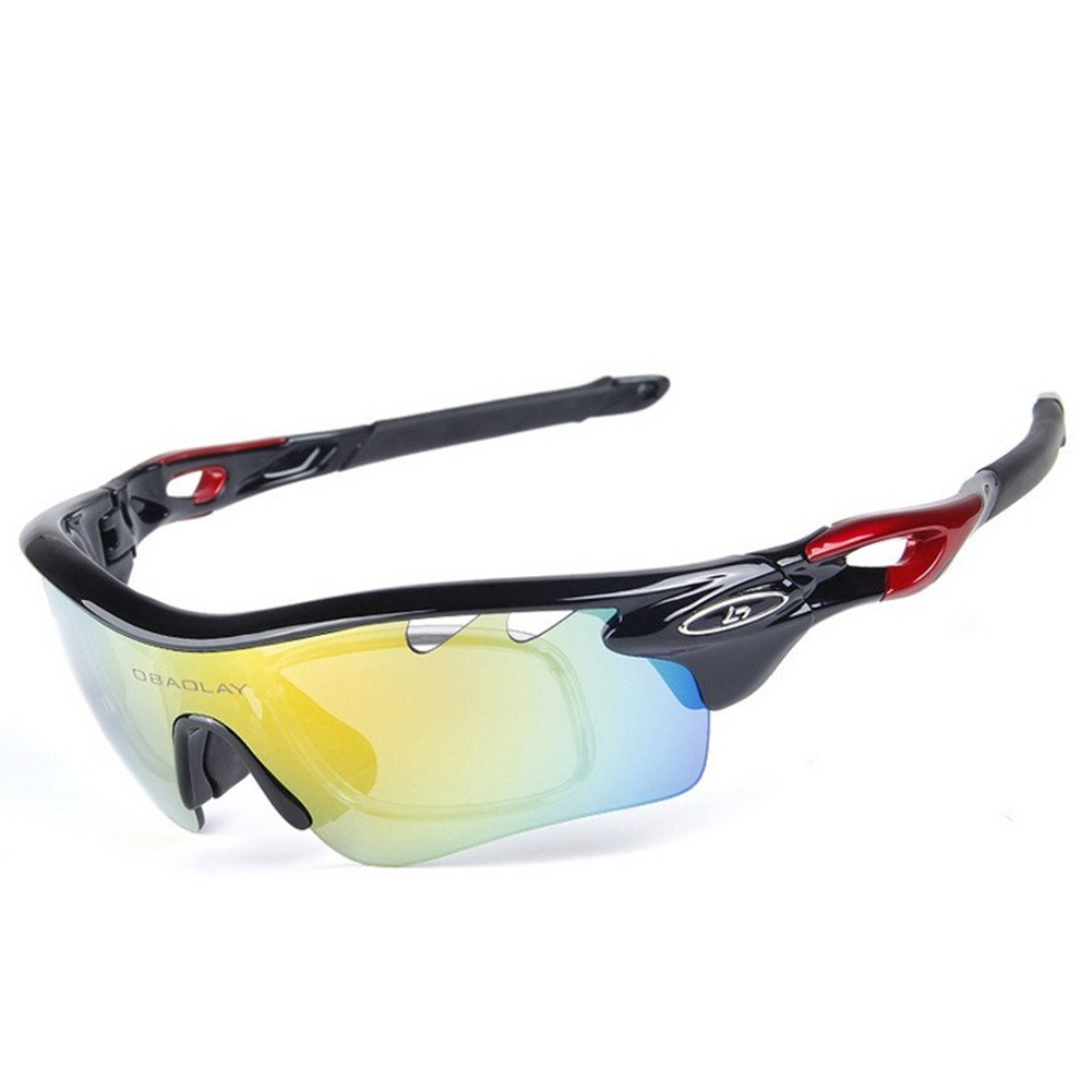 1a83501b831 Get Quotations · Lorsoul Polarized Sports Sunglasses With 5 Interchangeable  Lenes for Men Women Cycling Running Driving Fishing Golf