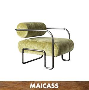 Modern waterfall seat stainless steel green velvet club chair